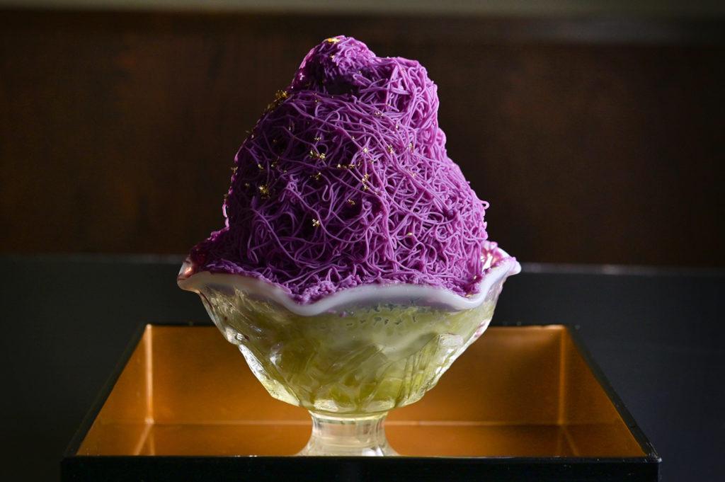 モンブランソフト大和煎茶ミルクかき氷(むらさき芋)